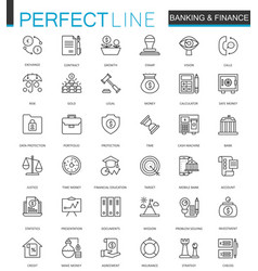 finance and banking thin line web icons set vector image
