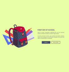 first day at school poster with cute backpack vector image