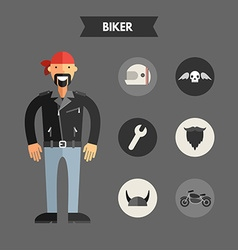 Flat Design of Biker with Icon Set Infographic vector