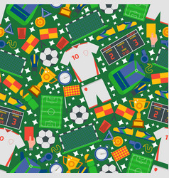 football icons in seamless pattern vector image