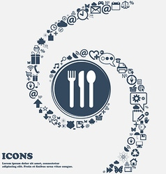fork knife spoon icon sign in the center Around vector image