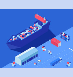 freight ship unloading isometric vector image