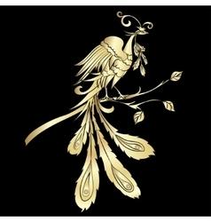 Golden silhouette fire-bird vector