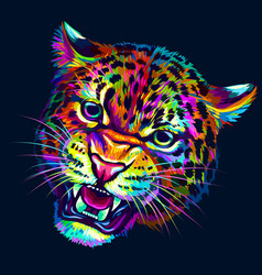 growling leopard abstract multicolored portrait vector image