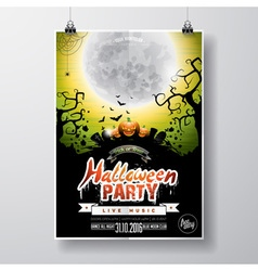 Halloween Party Flyer with pumpkins and moon vector image