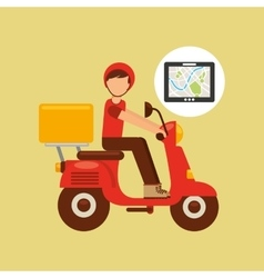 Hand hold tablet delivery food boy vector