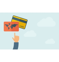 Hand pointing to credit cards vector