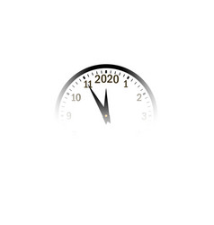 happy new year 2020 transparent clock arrows vector image