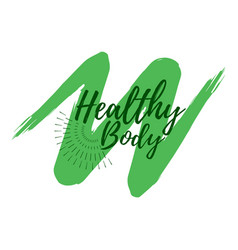 healthy body label eco style and wellness life vector image