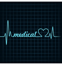 heartbeat make a medical text and heart symbol vector image