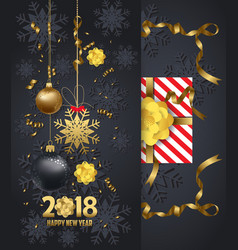 Holiday greeting and happy new year 2018 card vector