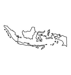 Indonesia map of black contour curves on white vector