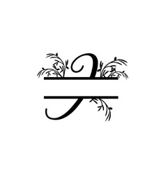 Initial i decorative plant monogram split letter vector