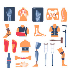 Injury recovery bone fracture and crutches x-ray vector