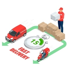 Isometric delivery service concept Fast delivery vector image