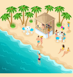 isometric sea beach with a beautiful bar vector image