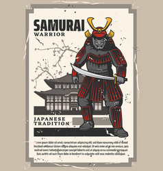 japan pagoda temple and samurai warrior vector image