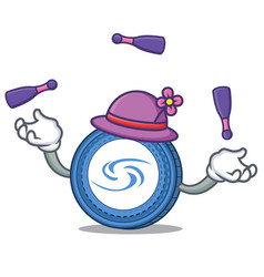 Juggling syscoin mascot cartoon style vector