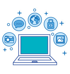 Laptop computer with social media marketing icons vector