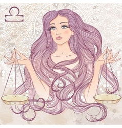 Libra as a portrait of beautiful girl vector image