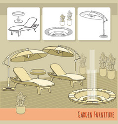 Lounge chairs umbrella and flowers in pot garden vector