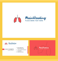 lungs logo design with tagline front and back vector image