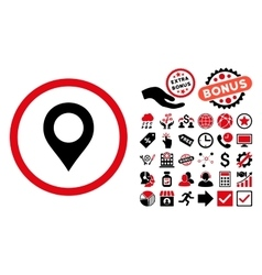 Map Marker Flat Icon with Bonus vector image