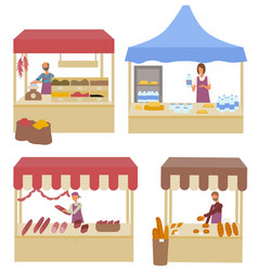 marketplace tents with spices and dairy products vector image