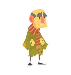 Mature unhappy homeless man character in ragged vector