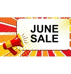 Megaphone with JUNE SALE announcement Flat style vector image