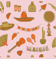 mexican cinco de mayo carnival seamless pattern vector image