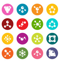 molecule icons many colors set vector image