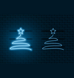 neon light sign christmas tree blue glowing vector image