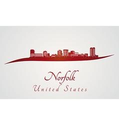 norfolk skyline in red vector image