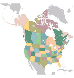 north america map with usa and canada vector image