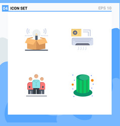 Pack 4 modern flat icons signs and symbols vector