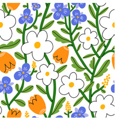 Pansy daisy and tulip flower garden pattern vector