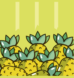 Pineapples over colorful background vector