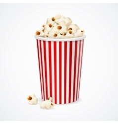Popcorn in red and white cardboard box for cinema vector image vector image