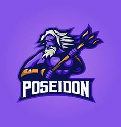 poseidon mascot logo vector image