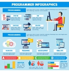 Programmer Infographics Flat Layout vector