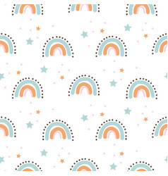 Rainbow cute shapes baby theme seamless pattern vector