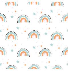rainbow cute shapes batheme seamless pattern vector image