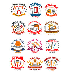 Repair construction work tools icons vector