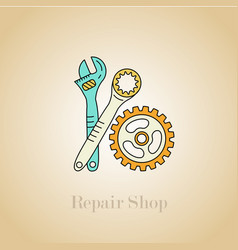 repair shop icon auto parts and accessories vector image