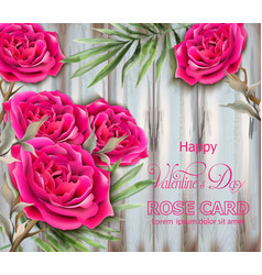 roses card realistic beautiful floral decor with vector image