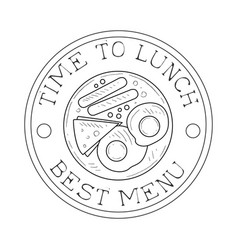 round frame cafe lunch menu promo sign in sketch vector image