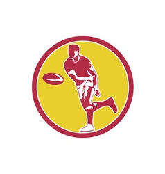 Rugby player passing ball circle retro vector