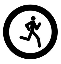 running man - stick icon black color in circle vector image