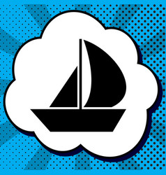 sail boat sign black icon in bubble on vector image
